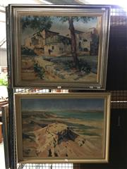 Sale 8753 - Lot 2080 - P Bergman (2 works): Cliffed Coast Scene; A Mediterranean Town oils on board, each approx 53.5 x 68.5cm (frame), signed lower -