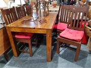 Sale 8777 - Lot 1076 - Timber Seven Piece Dining Suite