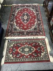 Sale 8787 - Lot 1096 - Red & Blue Tone Floor Rug (170 x 120cm) & Similar Smaller Example (110 x 60cm)