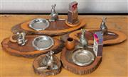 Sale 8984H - Lot 315 - A group of mulga wood smoking related wares, mainly ashtrays of kangaroo and koala themes including a lighter.