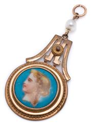 Sale 8999 - Lot 368 - AN ETRUSCAN REVIVAL PORTRAIT PENDANT; 16mm wide circular porcelain plaque with hand coloured portrait of Grecian lady with mother of...