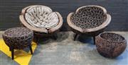 Sale 9009 - Lot 1011 - Modern Cane Four Piece Outdoor Suite With Matching Basket & Cushions For Tub Chairs (H78 x D99cm)