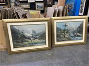 Sale 9058 - Lot 2091 - Artist Unknown (two works) , Mountain Scenes, oil on board, frame: 75 x 95 cm, each signed