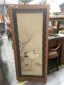 Sale 9091 - Lot 2044 - Japanese School Crane, c1890s ink, wash and gouache on paper laid on board, 140 x 61 cm (unframed)