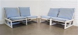 Sale 9188 - Lot 1046 - Vintage timber framed four piece lounge by Robert Waters (h:55 x w:67 x d:82cm)
