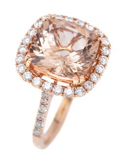Sale 9191H - Lot 47 - AN 18CT ROSE GOLD MORGANITE AND DIAMOND BORDER CLUSTER RING; featuring a 3.95ct cushion cut morganute to surround and shoulders set ...