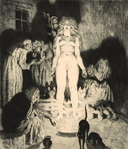 Sale 9244 - Lot 546 - NORMAN LINDSAY (1879 - 1969) Little Witch, 1937 etching, engraving and stipple, ed. 15/40 27 x 23 cm (frame: 51 x 47 x 2 cm) signed ...