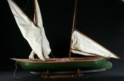 Sale 7907 - Lot 15 - Timber Pond Yacht with Green Hull, on Stand (Length - 116cm)