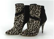 Sale 8087B - Lot 301 - A PAIR OF TABITHA SIMMONS LEOPARD PRINT FUR AND LEATHER BOOTS; Size 37 as new