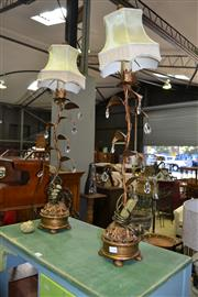 Sale 8115 - Lot 1156 - Pair Of Leaf Form Table Lamps