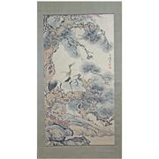 Sale 8268 - Lot 15 - Wang Xuetao Signature Crane & Pine Trees Hand Painted Watercolour Scroll