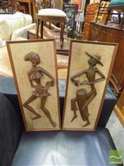 Sale 8409 - Lot 1005A - Pair of Hoola Girl Wall Plaques in Teak