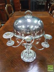 Sale 8444 - Lot 1093 - Edwardian Harrison Brothers & Howson Silver Plated Food Dome & Three Light Candelabra (dent to dome)