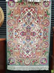 Sale 8559 - Lot 1027 - Probably Fine Isfahan Wool Garden of Paradise Carpet, depicting deer & birds amongst flowers in polychrome palette, the spandrels wi...