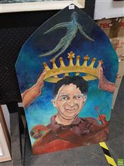 Sale 8573 - Lot 2061 - Crowned Mixed Media Artwork on Shaped Board