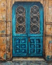 Sale 8652A - Lot 5050 - Stanley Perl (1942 - ) - Aqua Door (Doors of India Series) 50.5 x 40cm
