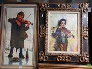 Sale 8645 - Lot 2070 - Violin Players (2 Works), oil on canvas, 69.5 x 39cm; 61.5 x 51.5cm (frame sizes)