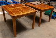 Sale 8677A - Lot 82 - A pair of handcrafted matching tables, each H 75 x W 120 x D 84cm (includes one fitted cover)