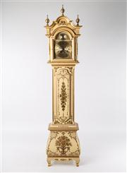 Sale 8716A - Lot 32 - A vintage Portugese long case clock, the Georgian style case in cream laquer with extensive gilt decoration. The brass and black ena...