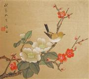 Sale 8821A - Lot 5062 - Chinese School (3 works) - Sparrows & Wildflowers 14 x 24cm, each