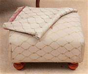Sale 8926K - Lot 46 - A lattice fabric upholstered foot stool with spare fabric, 40 x 31cm