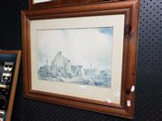 Sale 8981 - Lot 2101 - 3 Works: Pair of Watercolours by F N Satory and Unknown Artist River Scene & Aniston, plus Decorative Print by S.T. Gill