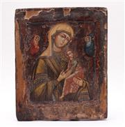 Sale 9027 - Lot 73 - Possibly c19th Painted Icon Of the Mother Mary (32cm x26cm)