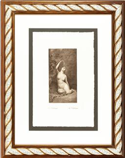 Sale 9080J - Lot 164 - Classical style print (An Odalisque) in rope twist frame, framed size 84 x 67cm
