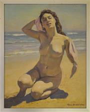 Sale 9080J - Lot 113 - Max Middleton - Nude at Beach 50x40cm