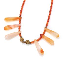 Sale 9107J - Lot 360 - A GEM STONE BEAD NECKLACE; set with 6 faceted pendeloque agate drops (length 36mm) to pierced gilt beads and carnealian and agate be...