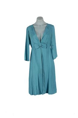 Sale 9092F - Lot 27 - AN L.K BENNETT DUCK EGG BLUE SUMMER COAT, with bow. Lined. Silk/Linen/Cotton. Size UK10.