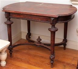 Sale 9190H - Lot 106 - A C19th shield top occasional table with stretcher base, insect damage throughout, Height 77cm x Width 106cm x Depth 71cm