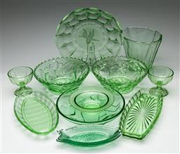Sale 9190 - Lot 72 - A collection of green depression glass