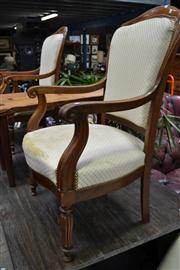 Sale 8035 - Lot 1049 - Pair of 19th Century French Mahogany Armchairs on Turned Reeded Legs