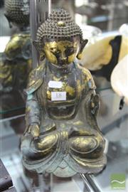 Sale 8217 - Lot 18 - Qianlong Marked Bronze Gilt Shakyamuni Figure