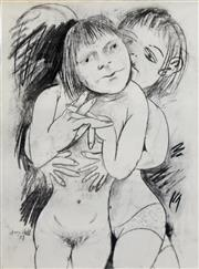 Sale 8259 - Lot 606 - Anne Marie Hall (1945 - ) (2 works) - Lovers, 1977 and Female Model 76 x 56cm