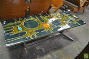 Sale 8275 - Lot 1094 - Vallauris Tile Topped Glazed Coffee Table over Chrome Base