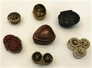 Sale 8436A - Lot 51 - A group of  interesting pill boxes including Chinese silver and lacquer, embossed leather and stone example.