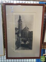 Sale 8548 - Lot 2126 - Artist Unknown, Church Building, Etching, signed, 33x16cm