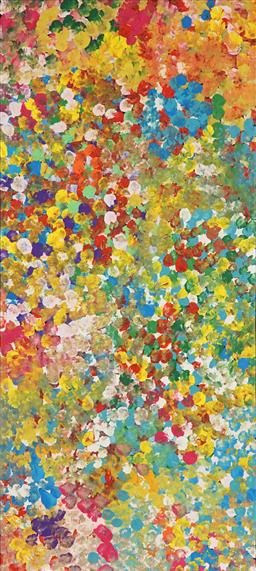Sale 8917A - Lot 5045 - Janet Golder Kngwarreye (1973 - ) - Yam Flower 95 x 42 cm (stretched and ready to hang)