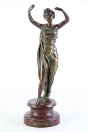 Sale 8849P - Lot 606 - A Bronze Deco Style Figure of a Dancer on Timber Base (H31cm)