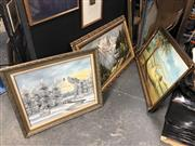 Sale 8853 - Lot 2074 - Collection of Ornately Framed Landscape Paintings -