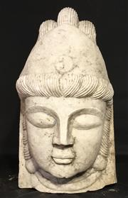 Sale 8857H - Lot 72 - An Impressive Large Carved Marble Budda Head, Size: 41cm H x 25Cm W Aged, General Wear, Head Only, Chipping To Base
