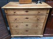 Sale 8882 - Lot 1022 - Antique Style Baltic Pine Chest of Four Drawers, with diamond escutcheons & turned feet
