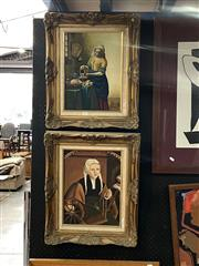 Sale 8910 - Lot 2069 - C Ahlers, (two works): 17th Century Interior Dutch Scenes, after Vermeer, 58 x 40 cm each