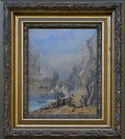 Sale 8940J - Lot 11 - George Edwards Peacock (1806 - 1880) - Town Gathering, oil on board, 24x19cm, signed lower right.