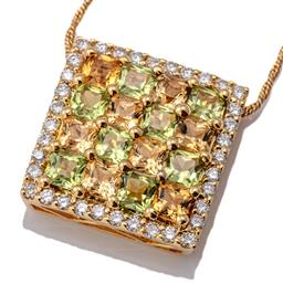 Sale 9124 - Lot 416 - A GOLD DIAMOND AND GEMSET PENDANT NECKLACE; a 17 x 17mm square 18ct pendant set with 16 princess cut peridots to surround of 36 roun...