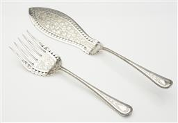 Sale 9123J - Lot 234 - An excellent quality pair of antique English silverplate large fish servers C: 1900, each with extensive hand engraved ivy leaf deco...