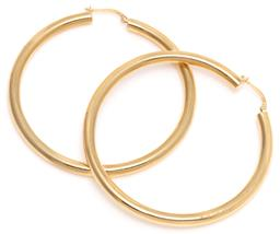 Sale 9140 - Lot 336 - A LARGE PAIR OF 18CT GOLD HOOP EARRINGS; 4mm wide hollow hoops to lever back fittings, length 61mm, wt. 7.37g.