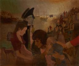 Sale 9141A - Lot 5027 - MAX GOSEWINCKEL (1921 - 2009) Sick Parade, Sydney Cove July, 1788 oil on board 66 x 79 cm (frame: 90 x 101 x 4 cm) signed lower right